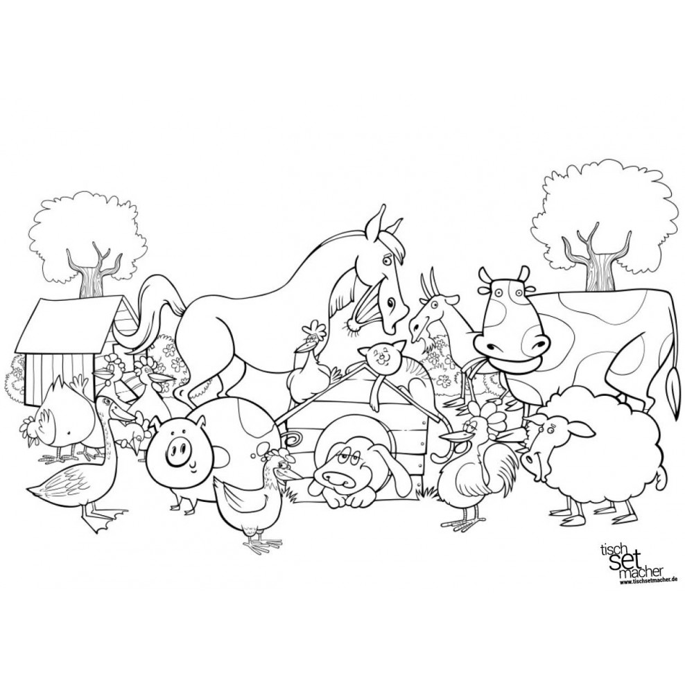 Tischsets Platzsets Malvorlagen Bauernhof Aus Papier 44 X 32