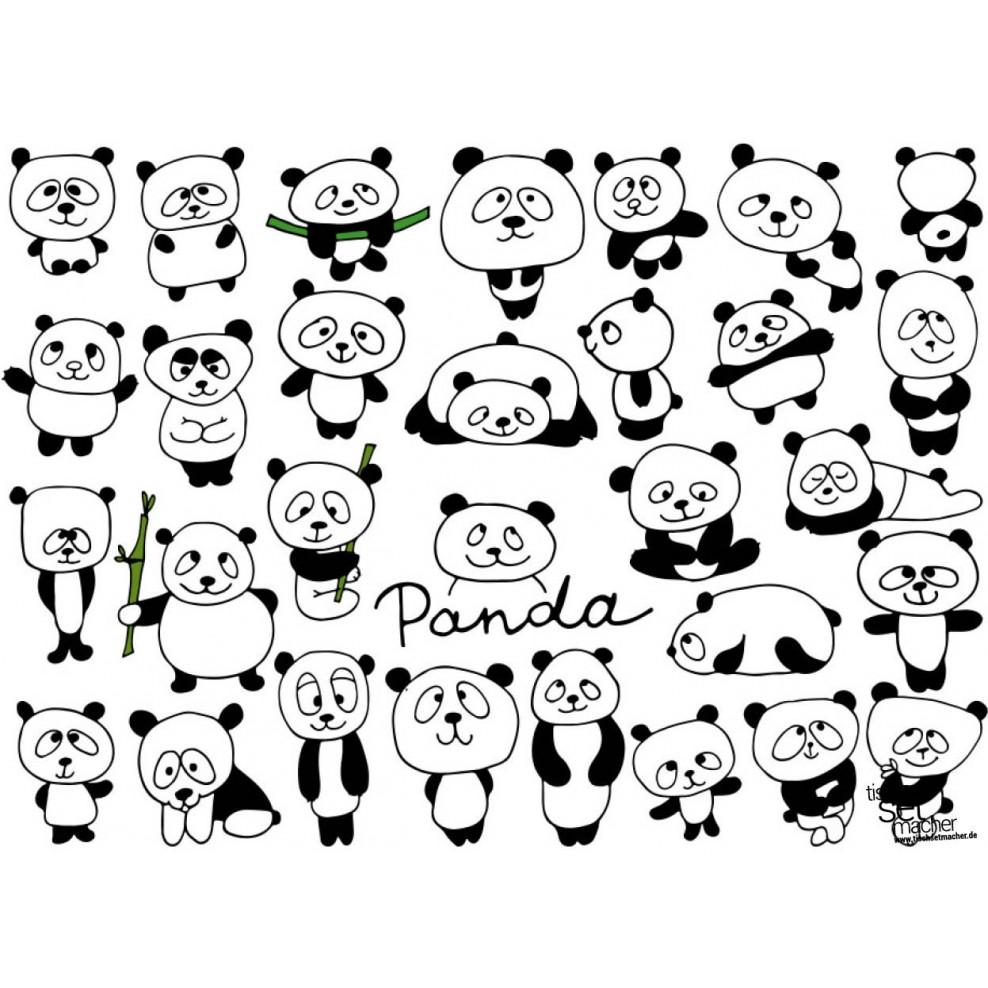 """Tischsets  Platzsets - Malvorlagen """"Pandas"""" aus Papier - 21 x 21"""