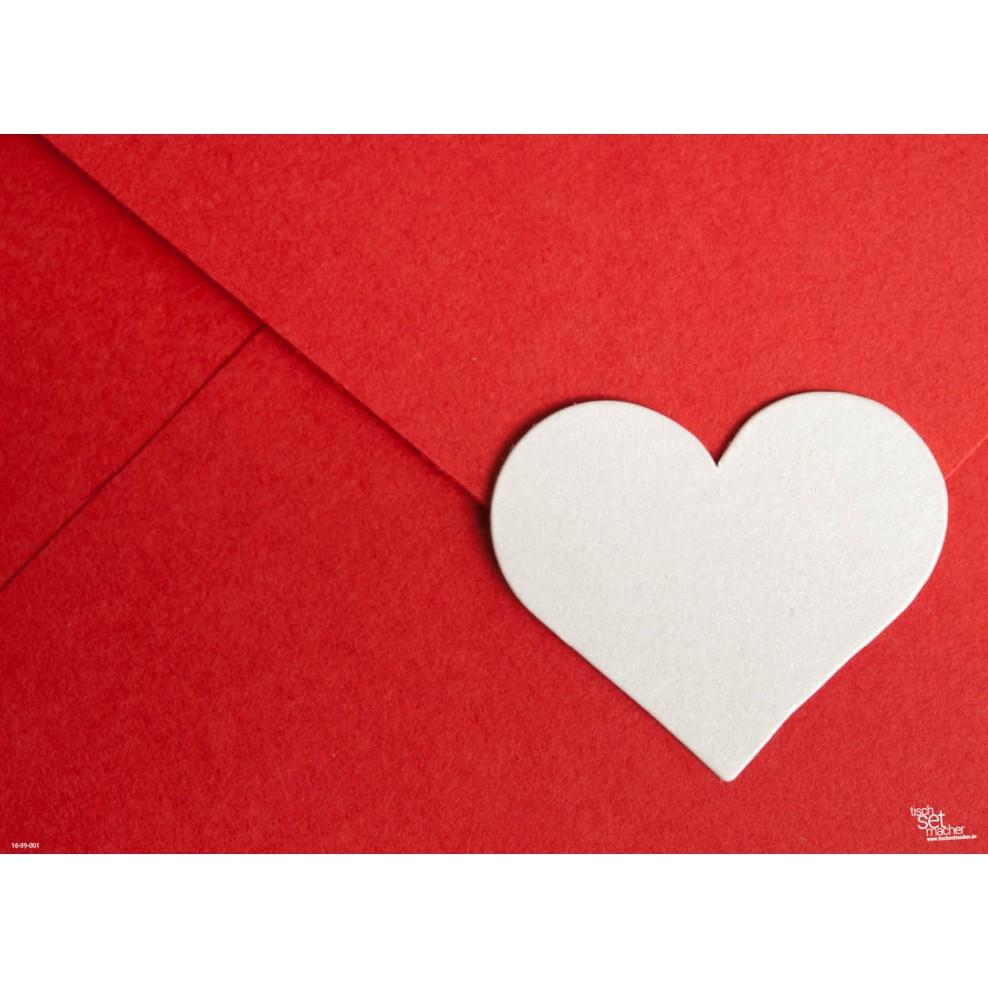Tischsets Platzsets Valentinstag Weißes Herz Aus Papier 44 X