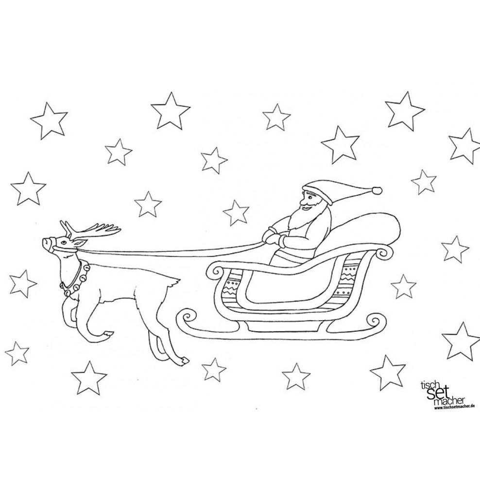 7 Ausmalbilder Weihnachtsmann Mit Rentierschlitten - Besten