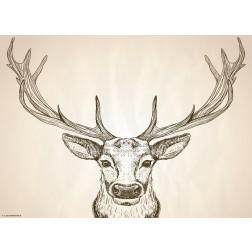 Bleistiftzeichnung Hirschkopf auf weißem Grund - Tischset aus Papier 44 x 32 cm