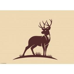 Silhouette Hirsch auf beigem Grund - Tischset aus Papier 44 x 32 cm
