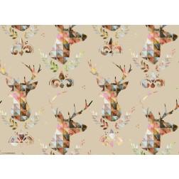 Hirschköpfe im bunten Mosaikstil - Tischset aus Papier 44 x 32 cm
