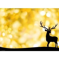 Hirschsilhouette vor goldenem Hintergrund - Tischset aus Papier 44 x 32 cm