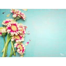 Tischset | Platzset - zweifarbige Blüten - aus Papier - 44 x 32 cm