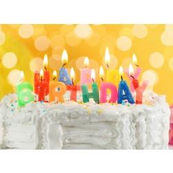 """""""Happy Birthday"""" Kerzen auf Torte  - Tischset aus Papier 44 x 32 cm"""