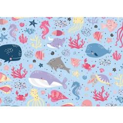 """Grafikmotiv """"Bunte Meereswelt""""  - Tischset aus Papier 44 x 32 cm"""