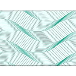 Wellengrafik grün  - Tischset aus Papier 44 x 32 cm