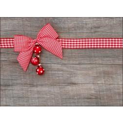 Rot-weisse Schleife mit Christbaumkugeln - Tischset aus Papier 44 x 32 cm