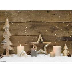 Weihnachtliches Arrangement aus Holz - Tischset aus Papier 44 x 32 cm
