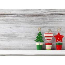 Weihnachtliches Arrangement aus Holzsymbolen - Tischset aus Papier 44 x 32 cm