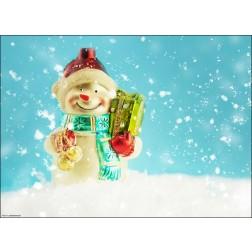 Fröhlicher Schneemann mit Geschenkpaket - Tischset aus Papier 44 x 32 cm