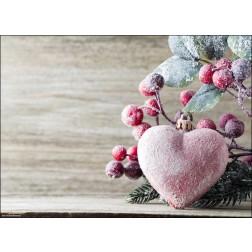 Weihnachtliches Motiv mit verschneitem Herz und Zweigen - Tischset aus Papier 44 x 32 cm