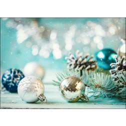 Weihnachtliches Motiv mit Christbaumkugeln in türkis und silber - Tischset aus Papier 44 x 32 cm