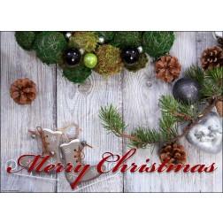"""""""Merry Christmas"""" Weihnachtsgesteck von oben - Tischset aus Papier 44 x 32 cm"""