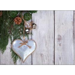 Herzanhänger an weihnachtlich geschmücktem Zweig - Tischset aus Papier 44 x 32 cm
