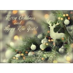 """Schriftzug """"Merry Christmas and Happy New Year"""" mit Weihnachtsgesteck - Tischset aus Papier 44 x 32 cm"""