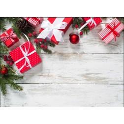 Rote Weihnachtspäckchen mit Schleifen und Tannenzweigen - Tischset aus Papier 44 x 32 cm