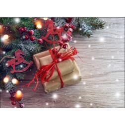 Weihnachtspäckchen mit roter Schleife und Tannenzweig - Tischset aus Papier 44 x 32 cm