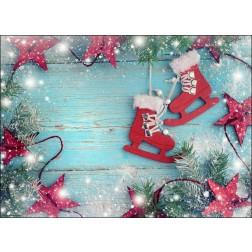 Weihnachtliches Arrangement mit Christbaumschmuck - Tischset aus Papier 44 x 32 cm