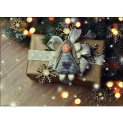 Weihnachtsmotiv mit Tannenzweigen und Strickpüppchen - Tischset aus Papier 44 x 32 cm