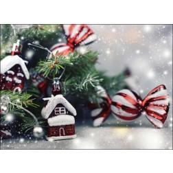 Weihnachtsmotiv mit Tannenzweigen und Christbaumschmuck - Tischset aus Papier 44 x 32 cm