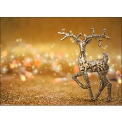Golden glitzerndes Weihnachtsmotiv mit Rentier - Tischset aus Papier 44 x 32 cm
