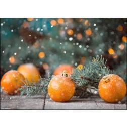 Christbaumanhänger Mandarine mit Tannenzweig und glitzernder Beleuchtung - Tischset aus Papier 44 x 32 cm