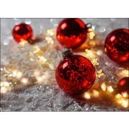 Weihnachtsmotiv rote Christbaumkugeln auf Glitzerschnee - Tischset aus Papier 44 x 32 cm