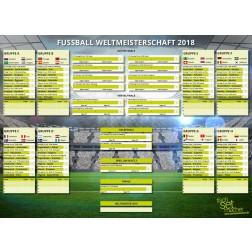 Fußball WM 2018 - WM-Spielplan - Tischset aus Papier 44 x 32 cm