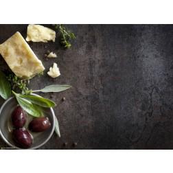 Parmesan, Kräuter und Oliven  - Tischset aus Papier 44 x 32 cm