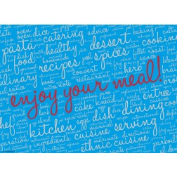 Enjoy your meal blau  - Tischset aus Papier 44 x 32 cm