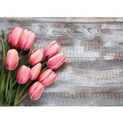 Rote Tulpen auf Holz - Tischset aus Papier 44 x 32 cm