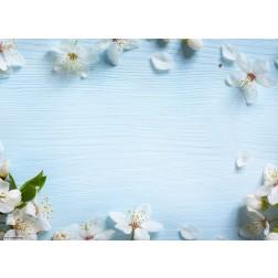 Apfelblüten auf blauem Holz - Tischset aus Papier 44 x 32 cm