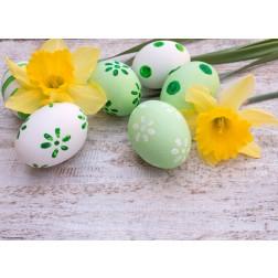 Osterglocken mit grünen Eiern - Tischset aus Papier 44 x 32 cm