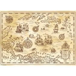 Meereskarte braun - Tischset aus Papier 44 x 32 cm