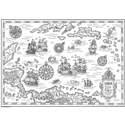 Meereskarte weiß - Tischset aus Papier 44 x 32 cm