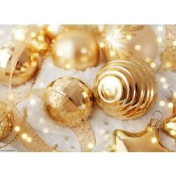 Goldene Kugeln mit Band - Tischset aus Papier 44 x 32 cm