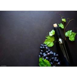 Weinflasche und rote Trauben - Tischset aus Papier 44 x 32 cm