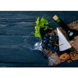 Weinarrangement mit Käse - Tischset aus Papier 44 x 32 cm