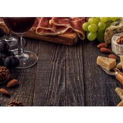 Weinarrangement auf Holz - Tischset aus Papier 44 x 32 cm