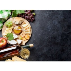 Käseplatte mit Honig - Tischset aus Papier 44 x 32 cm