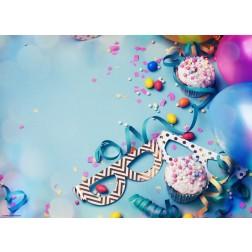 Blaue Partydeko mit Muffins - Tischset aus Papier 44 x 32 cm