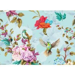 Buntes Vogelparadies - Tischset aus Papier 44 x 32 cm