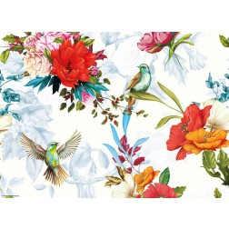Buntes Vogelparadies 2 - Tischset aus Papier 44 x 32 cm
