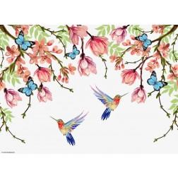 Kolibris gemalt - Tischset aus Papier 44 x 32 cm