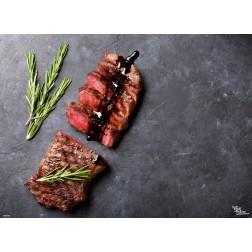 Tischset | Platzset - Steak halb aufgeschnitten - aus Papier - 44 x 32 cm