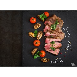 Tischset | Platzset - Fleisch mit Beilage - aus Papier - 44 x 32 cm