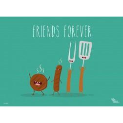 Tischset   Platzset - Würstchen Friends Forever - aus Papier - 44 x 32 cm