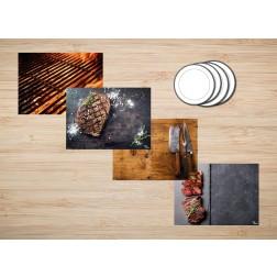 Tischset | Platzset - Kombiniertes Set Grillen - aus Papier - 44 x 32 cm